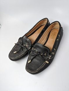 c6669ab625a Coach Patrice Leather Driving Moccasin Loafer with Black Bow  Size 6B   fashion  clothing