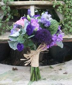 Twine wrapped purple and pink bridal bouquet