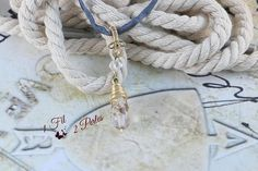Pendentif Perle Goutte Laiton Doré Wire Wrapping Collier