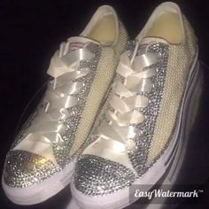 Designer Baby Shoes, Bling Converse, Crystal Shoes, Kids Sneakers, Beautiful Babies, Christening, Baby Items, Swarovski Crystals, Sparkle
