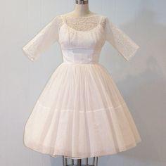 50's tea length lace top wedding dress $250.00