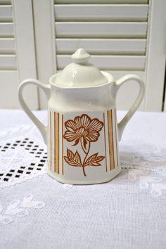 Vintage J G Meakin Sugar Bowl Lotus White Coral Ironstone England Royal Staffordshire Vintage Kitchen PanchosPorch