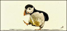 SOLD - Puffin bird original watercolor painting by Juan Bosco - San Martin Arts Crafts
