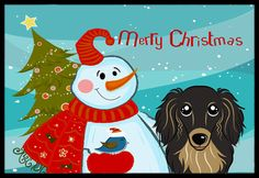 Snowman with Longhair Black and Tan Dachshund Indoor or Outdoor Mat 24x36 BB1833JMAT