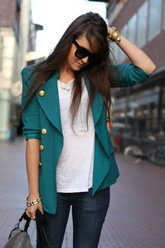 love the teal blazer with gold details