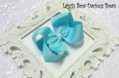 Large Tiffany Blue Boutique Hair Bow