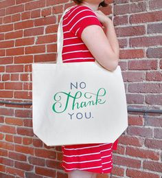 Large Sturdy Thick Canvas No Thank You Tote by emilymcdowelldraws, $20.00