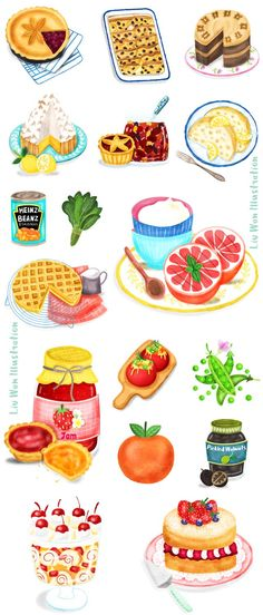 Delicious British home cooking food illustrations illustrated by UK based Illustrator Liv Wan