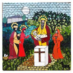 Presentación del niño Jesús, el viejo Simeón lo recibe en sus brazos. Mosaico veneciano y azulejos. 46x46,5cm Arms, Tiles