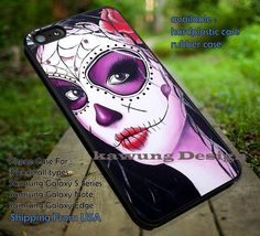 Candy Skull Black Hair Sugar Skull | Candy Skull | Day of The Death | Art Paint | Sugar Skull | case/cover for iPhone 4/4s/5/5c/6/6 /6s/6s  Samsung Galaxy S4/S5/S6/Edge/Edge  NOTE 3/4/5 #cartoon ii