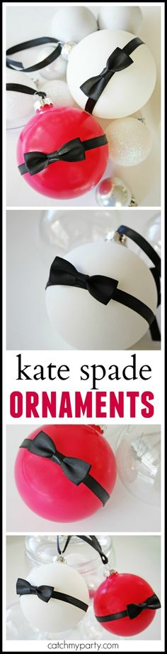 Learn to make these gorgeous Kate Spade ornament with our new DIY. You have no idea how easy and inexpensive this craft is to do or how beautiful they will look on your Christmas tree. Also great holiday gift for your stylish friends. And there's even a video! | CatchMyParty.com