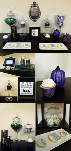 Haunted Mansion Inspired Soirée.  See the cupcake holders?  Follow the link to FREE Haunted Mansion Party printables.  (I particularly like the green & black candies in the glass  apothecary jar)