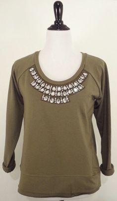 Green Embellished Sweatshirt – Layla's Shop