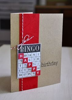 Simply Stamped: Birthday Bash Sentiments, certainly a good card for Barbara Jeanbirthday bingo - great idea for another use of the Bingo Stamp!Simply Stamped, this is cute!scrabble tiles in bingo squares--birthday bingoBingo card - want to try someth Bday Cards, Birthday Cards For Men, Handmade Birthday Cards, Greeting Cards Handmade, Simple Birthday Cards, Greeting Cards Birthday, Simply Stamps, Birthday Card Design, Bingo Cards