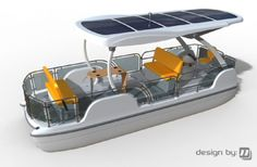USA. The Loon model now in production is a 26-footer that can hold 10 passengers. The roof holds solar panels that, combined with batteries, can power the boat at about 8 miles an hour for 50 miles. At $35,000, the Loon is more expensive than similar-sized, gas-powered pontoon boats.