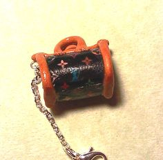 Kawaii Polymer Clay Designer Purse Charm - Black with colored print. $9.95, via Etsy.