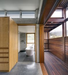 Amazing House with Ocean View Designs: Cozy Wooden Interior Bathroom View South Coast Residence In Australia