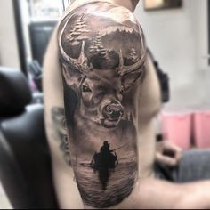 Deer Sleeve Tattoo on Shoulder