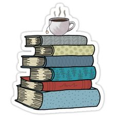 Tea and books sticker Sticker Tea and books sticker Sticker Planner Stickers, Journal Stickers, Printable Stickers, Stickers Cool, Tumblr Stickers, Laptop Stickers, Sticker Printer, Tea And Books, Aesthetic Stickers