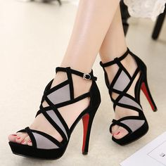 2017 Summer Women's Sandals Thin Heels High Heels Sandalias Romen Shoes Open Toe Platform Gladiator Sandals Women's Shoes Source by Pretty Shoes, Beautiful Shoes, Cute Shoes, Me Too Shoes, Platform High Heels, High Heel Boots, Sandals Platform, High Shoes, Black Platform