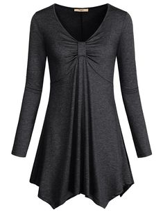online shopping for Cestyle Women's Long Sleeve V Neck Twist Knot Front Irregular Hem Tunic Tops from top store. See new offer for Cestyle Women's Long Sleeve V Neck Twist Knot Front Irregular Hem Tunic Tops Blouse Styles, Blouse Designs, Tunic Tops For Leggings, Long Tunic Tops, Hijab Fashion, Fashion Dresses, Hijab Stile, Mode Hijab, Knit Shirt