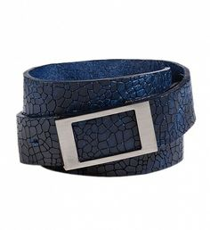 Calf Leather Belt by Strellson $20 | The lizard embossed in dark blue makes this belt a fashion statement that adds even relaxed looks trendy and finishing touches.Whether bold to suit or cool with jeans and chinos | GOTSTYLE.CA
