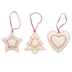 Heart, Tree and Star Decorations, red cross stitch.