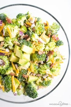 Broccoli Bacon Avocado Salad (Low Carb, Gluten-free) - This creamy low carb and gluten-free salad combines savory bacon and crunchy broccoli, with avocado for extra flavor.