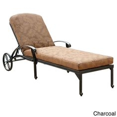 Doze peacefully on this cozy chaise lounge chair. It features a cast iron frame for durability and is accompanied by a pretty cushion that adds style and comfort. The cushion is weather resistant, so you don't have to worry about leaving it outside.