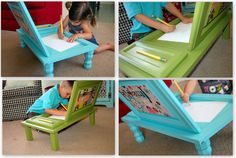 Creative way to use old cabinet doors for Kids! Find old doors at your local Habitat Store; GoodWill or a a source for used furnisture. Love this! Instructions: http://www.u-createcrafts.com/2011/05/creative-guest-icandy-handmade.html