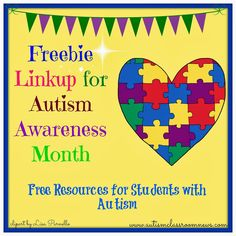 Freebie Linkup for Autism Awareness Month by Autism Classroom News: http://www.autismclassroomnews.com