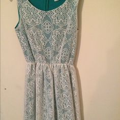 eca545f040e16 Coveted Clothing cream lace overlay on green dress Adorable Coveted  Clothing sleeveless dress