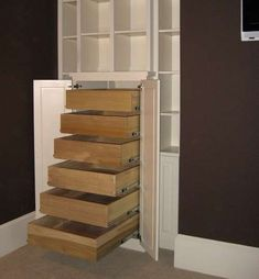 DVD Storage Ideas - Anyone with an unruly DVD collection knows the agony of picking through disorganized drawers of movies to find the one you're in the moo Diy Dvd Storage, Media Storage, Stair Storage, Closet Storage, Storage Spaces, Tall Cabinet Storage, Storage Ideas, Small Rooms, Small Spaces
