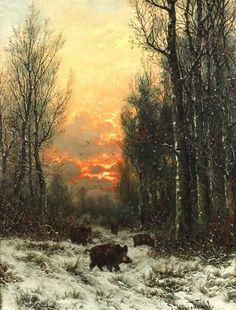 Joseph Heydendahl, wild boar in the winter forest Boar Hunting, Hunting Art, Wildlife Paintings, Wildlife Art, Forest Art, Wild Boar, Outdoor Art, Nature Scenes, Animal Drawings