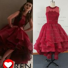Real Image 2015 Prom Dresses Sheer Crew Neckline Organza Tiers Ruffle High Front And Low Back Evening Dresses Dhyz 01, $136.13   DHgate.com