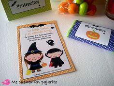 MCPajarito, invitación, chocolatina y chuches para la fiesta de Halloween