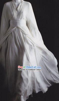 Traditional Ancient China White Hanfu Clothing for Men or Women         Pasadena