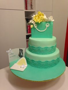 Pastel green lace and flower cake
