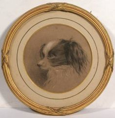 Catherine Sancroft Holmes (c.1861) Head study of a spaniel Signed and inscribed 1861 on reverse, black and white chalk, circular 11cm (4in) diameter