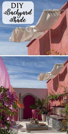 Ideas for diy outdoor shade ideas retractable pergola Diy Pergola, Toile Pergola, Diy Awning, Pergola Design, Outdoor Pergola, Diy Patio, Outdoor Decor, Pergola Ideas, Patio Ideas