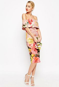 12 Wedding Guest Cocktail Dresses for all Your Spring Weddings | Printed Bardot Off the Shoulder Hitchcock Midi Pencil Dress, $97.05; at ASOS