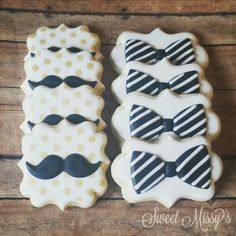 Baby Shower Cake Sweet Missy& - Mustaches and bowties to celebrate a baby shower. Mustache Cookies, Baby Cookies, Baby Shower Cookies, Sugar Cookies, Mustache Cake, Moustache Party, Baby Shower Cakes For Boys, Boy Baby Shower Themes, Decorated Cookies