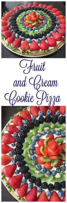Fruit and Cream Cookie Pizza on www.cookingwithruthie.com is a sugar cookie crust topped with a cream cheese-whipped cream filling, and topped with fresh fruit.
