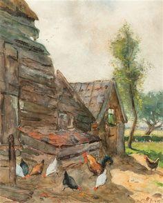 Willem de Zwart - Chickens at the farm; Medium: Watercolour on paper; Dimensions: 10.71 X 8.58 in (27.2 X 21.8 cm)