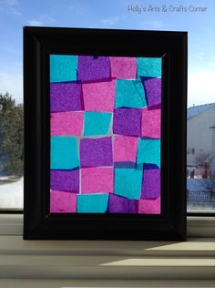 Hollys Arts and Crafts Corner: Craft Project: DIY Faux Stained Glass Frames...using tissue paper, contact paper, and dollar store frames.