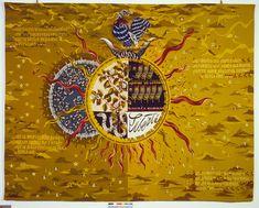 Liberté de Jean Lurçat (1943) 2,83 x 3,64 m atelier Picaud, Aubusson Donation Simone Lurçat, 1988 ur un fond ocre jaune se détachent, au centre, deux astres passant l'un devant l'autre telle une éclipse. Dans les quatre coins de la tapisserie, on peut lire des extraits du poème de Paul Eluard, Liberté ; les derniers mots du poème viennent s'inscrire dans l'astre solaire : … Pour te connaître / … Pour te nommer / Liberté