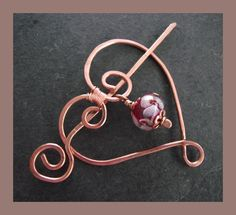 Copper and Lampwork Heart fibula - shawl pin - brooch £12.00