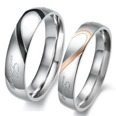 Lover`s Heart Shape Titanium Stainless Steel Mens Ladies Promise Ring Real Love Couple Wedding Bands $6.99 (save $33.00) + Free Shipping