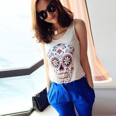 HDY Haoduoyi Two Color Fashion Women Tops Sleeveless Crew Neck Floral Print Tank Tops Women Summer Soft Slim Casual Vest