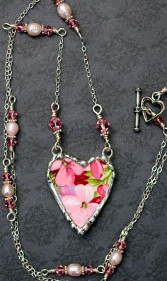 Broken China Jewelry, China Heart Necklace Pendant, Pink Floral Chintz, Sterling Silver Chain